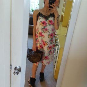 Dresses & Skirts - Floral Slip Dress Black Lace